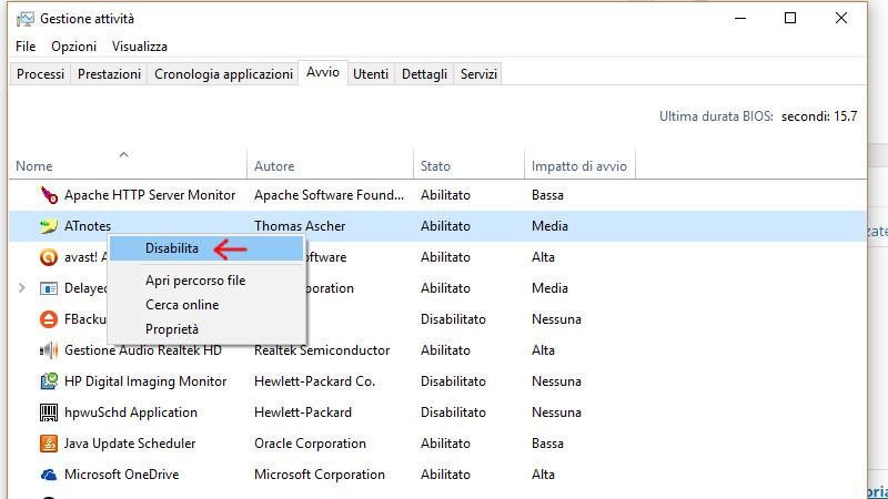 Disabilitazione avvio con Windows di un programma
