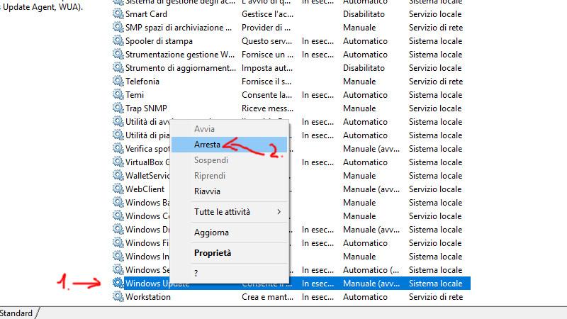 Fermare il servizio di Windows Update