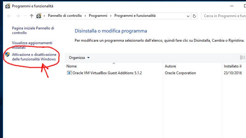 Attivazione o disattivazione delle funzionalità Windows