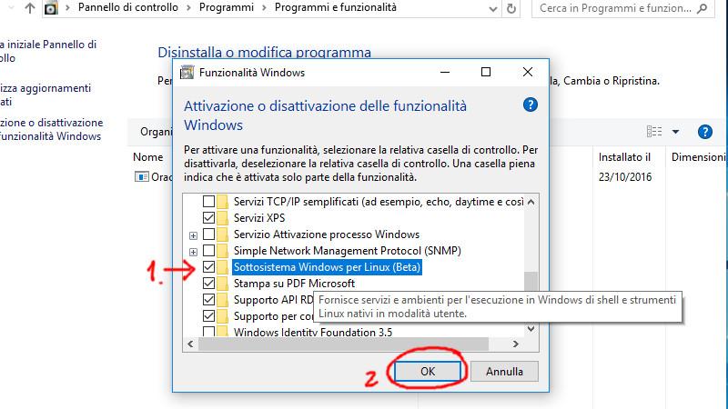 Selezioniamo la voce Sotto sistema Windows per Linux