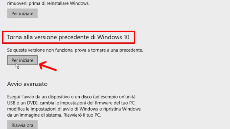 Voce per avviare il ripristino della vecchia versione di Windows