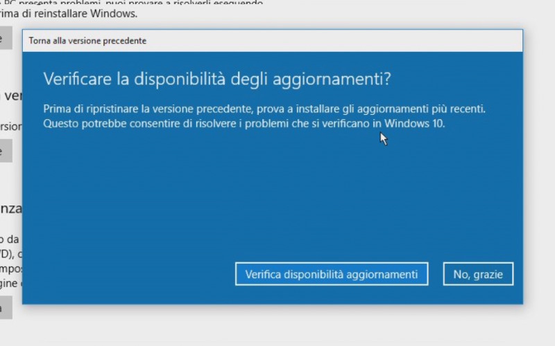 Richiesta di verifica degli aggiornamenti di Windows