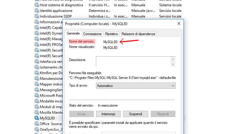 Proprietà del servizio MySQL 8