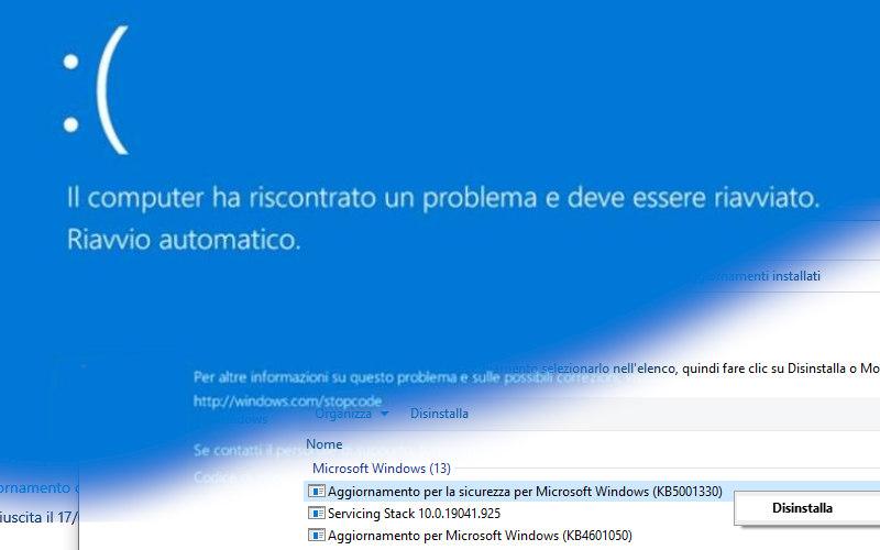 Problemi con l'aggiornamento KB5001330